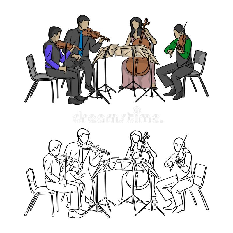 Group of musicians playing in quartet vector illustration sketch royalty free illustration