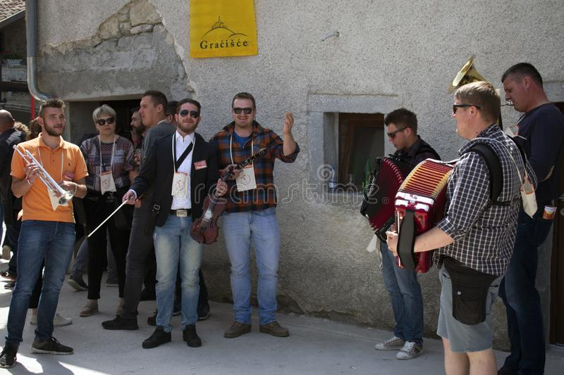 Group of musicians at the wine festival royalty free stock photography