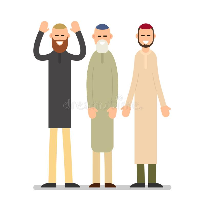 Group muslim arabic people. Men standing together in different s vector illustration