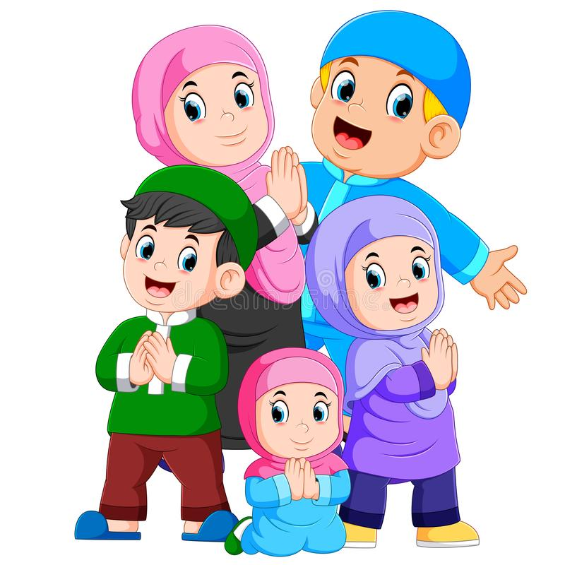A group of muslim family are celebrating ied mubarak together. Illustration of  A group of muslim family are celebrating ied mubarak together royalty free illustration