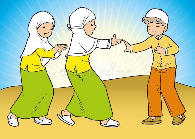 Group of muslim girls and boy. Playing in the field royalty free illustration