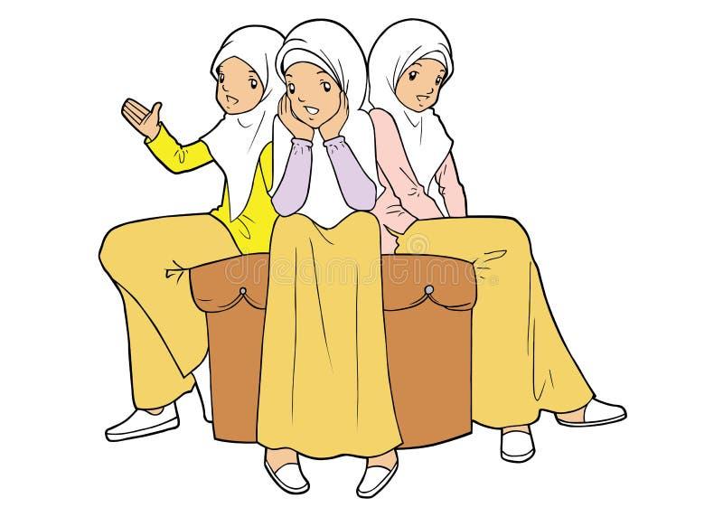 Group of muslim teenager girls vector illustration