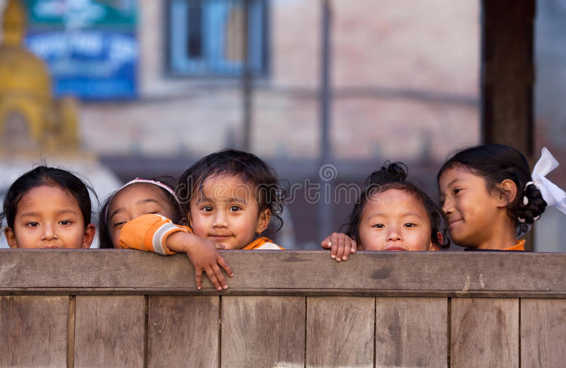 Group of Nepalese children stock photos