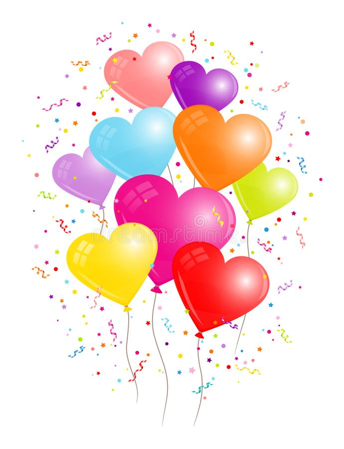 Group Of Nine Colorful Heart Balloons Streamers And Confetti vector illustration