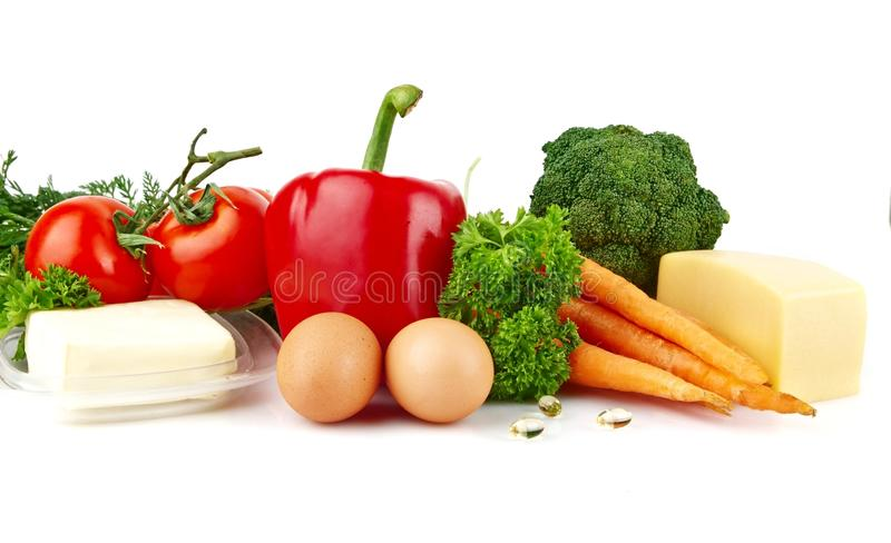Group of nutrients full of vitamin A. On white background stock photo