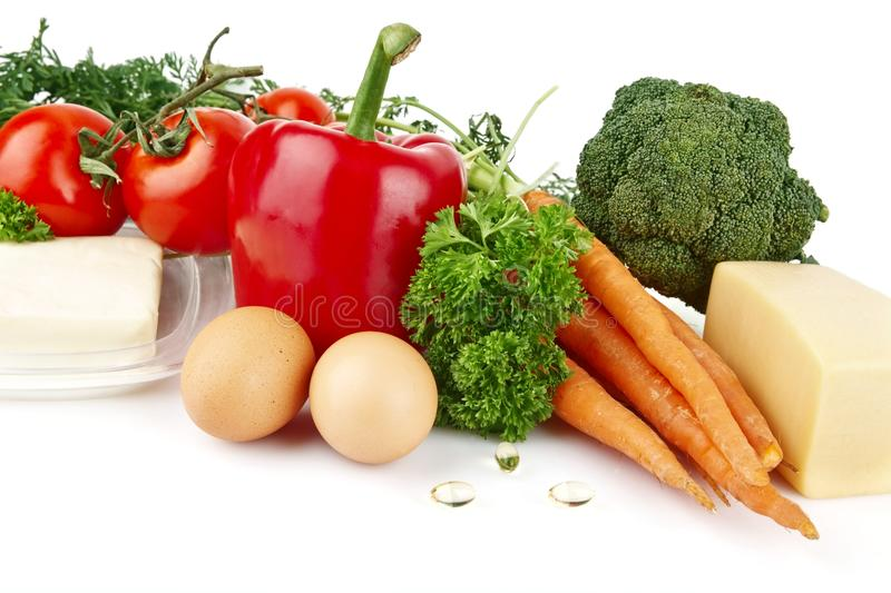 Group of nutrients full of vitamin A. On white background royalty free stock photography