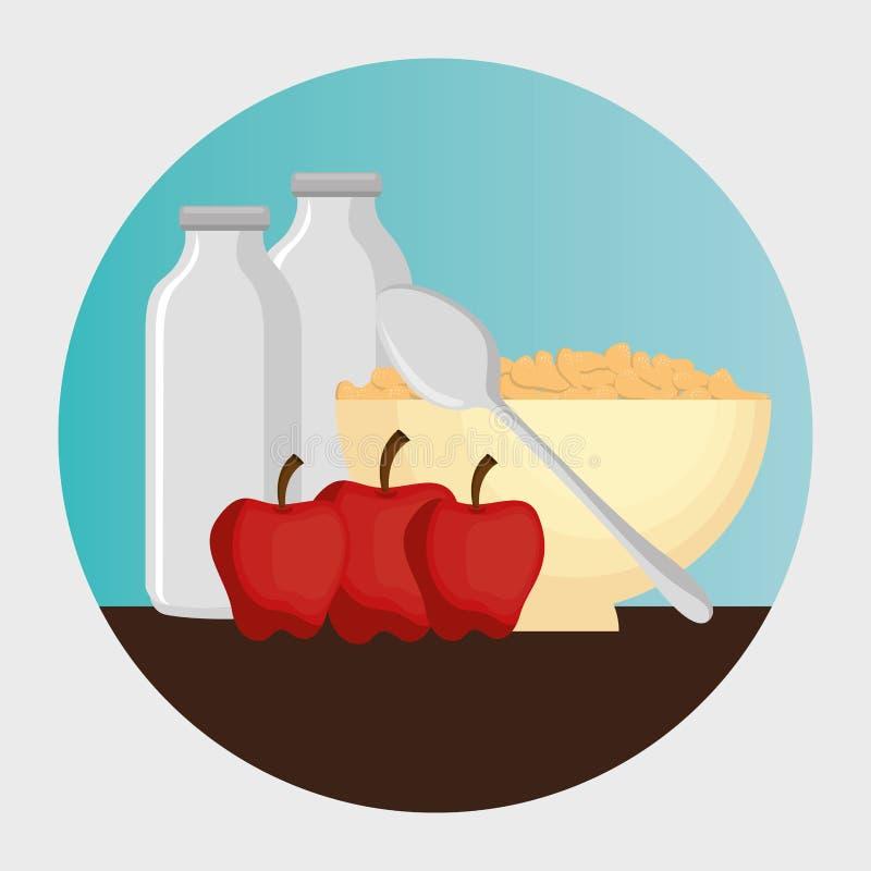 Group of nutritive food icons vektor abbildung