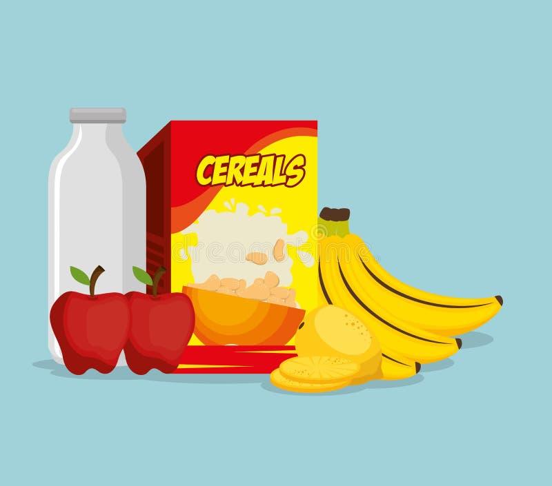 Group of nutritive food icons lizenzfreie abbildung