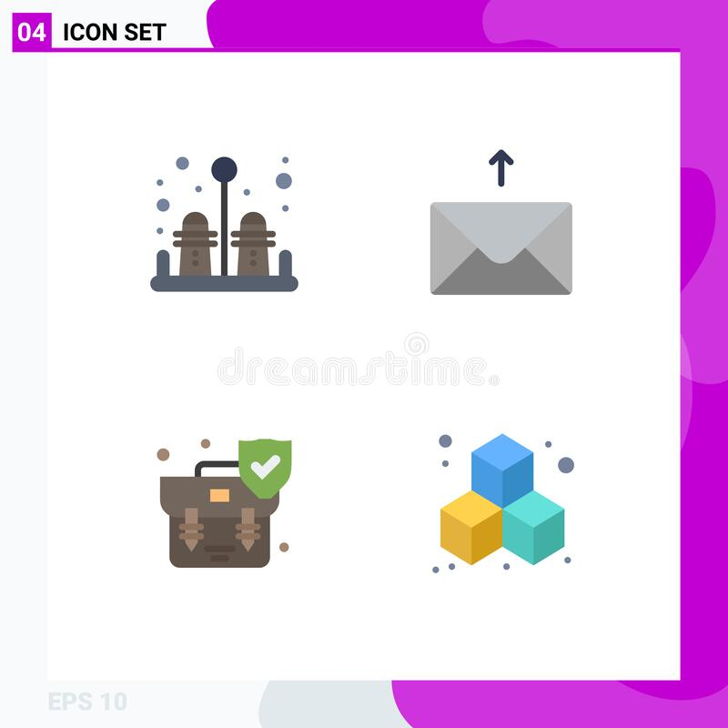 Free Group Of 4 Flat Icons Signs And Symbols For Pepper, Shield, Mail, Handbag, Cube Royalty Free Stock Photo - 178177435