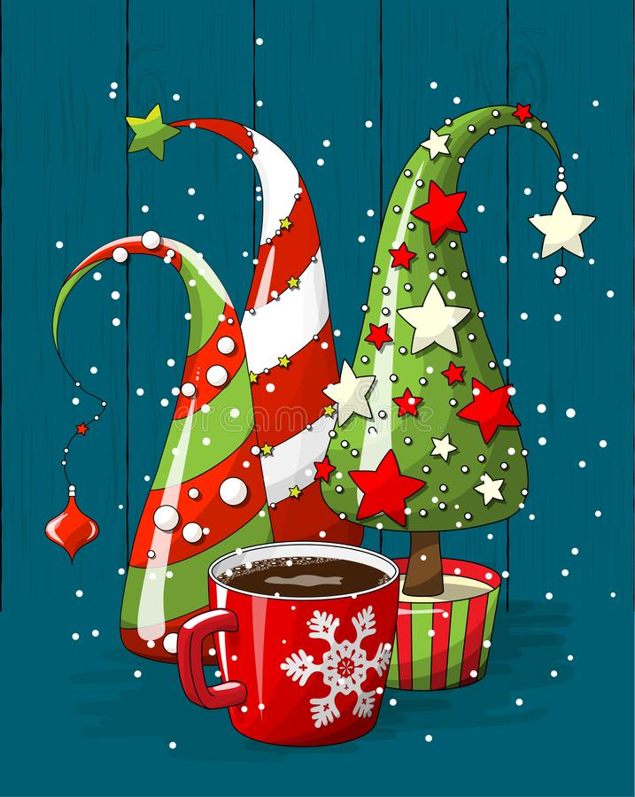 Free Group Of Abstract Christmas Trees And Coffee Cup, Holiday Motive, Illustration Stock Photos - 103348313