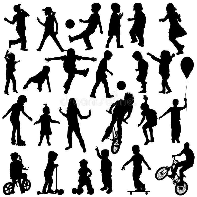 Free Group Of Active Children, Hand Drawn Sillhouettes Of Kids Playing Stock Photography - 45590102