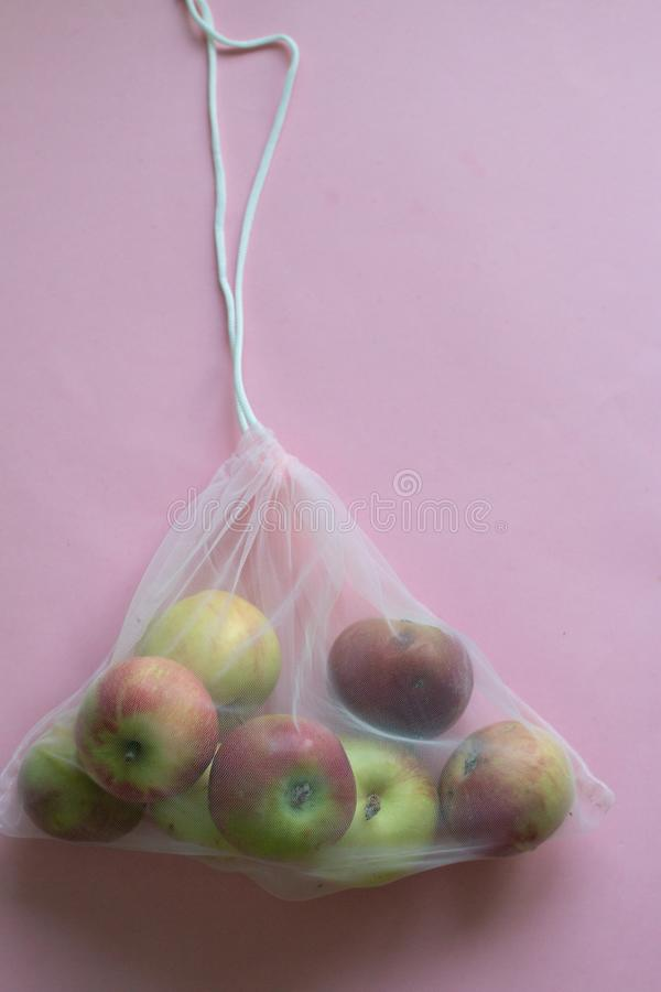 Free Group Of Apples In A Handmade Cotton Bag, No Plastic And Eco-friendly Trendy Concept. Reusable Things Royalty Free Stock Photography - 157296097