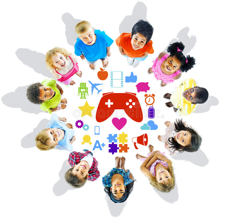 Free Group Of Children Looking Up With Gaming Symbols Royalty Free Stock Photography - 41749917