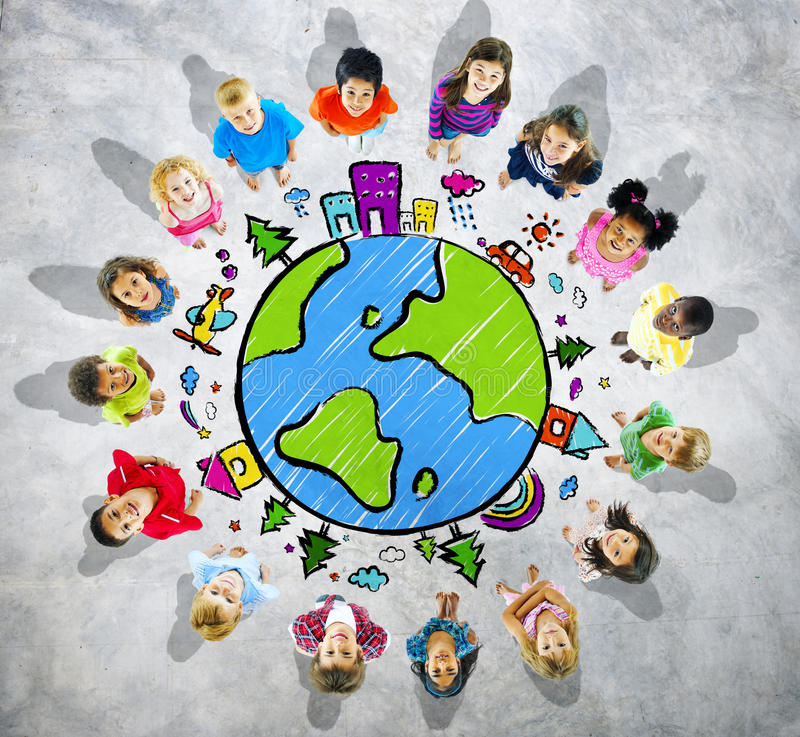 Free Group Of Kids Looking Up With Globe Symbol Royalty Free Stock Image - 43817336