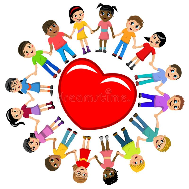 Free Group Of Multicultural Kids Hand In Hand Around Big Heart  On White Royalty Free Stock Photography - 168978897