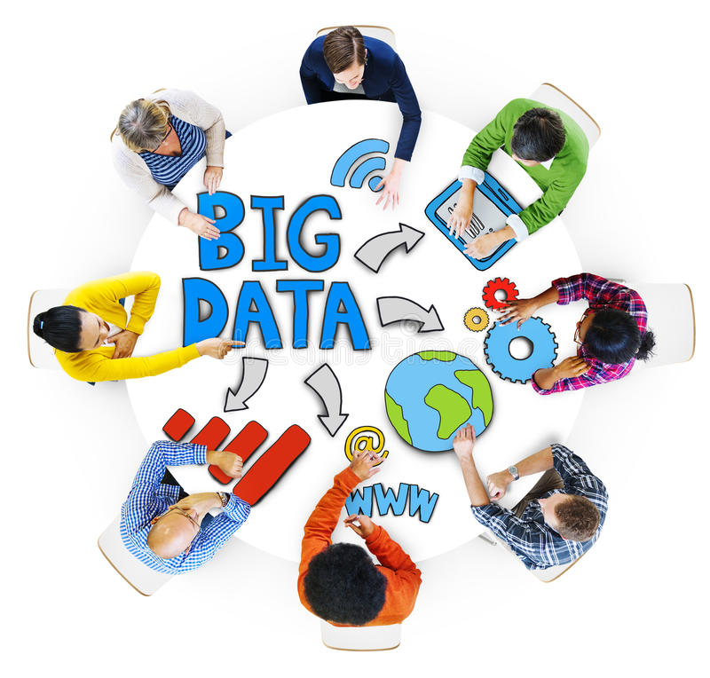Free Group Of People Brainstorming With Big Data Stock Photos - 47298723