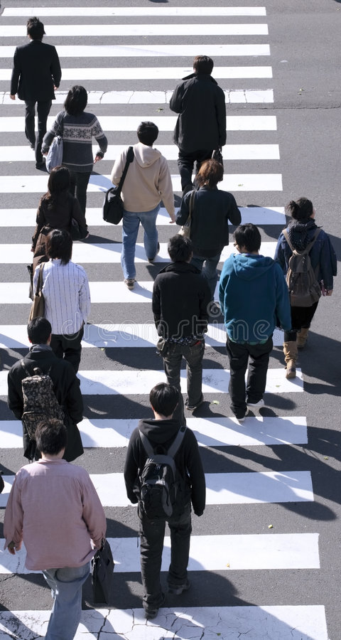 Free Group Of People Crossing The Street Royalty Free Stock Image - 1682016