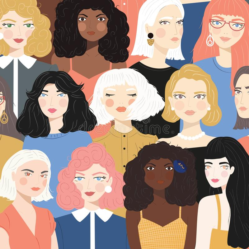 Free Group Of Portraits Of Diverse Women, Fight For Equality Concept, Feminism, Flat Illustration Royalty Free Stock Photography - 159380617