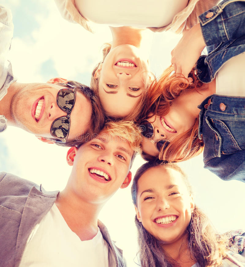 Free Group Of Teenagers Looking Down Royalty Free Stock Image - 41936376