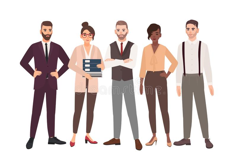Group of office employees standing together. Team of smiling male and female professionals or colleagues. Cartoon. Characters isolated on white background stock illustration