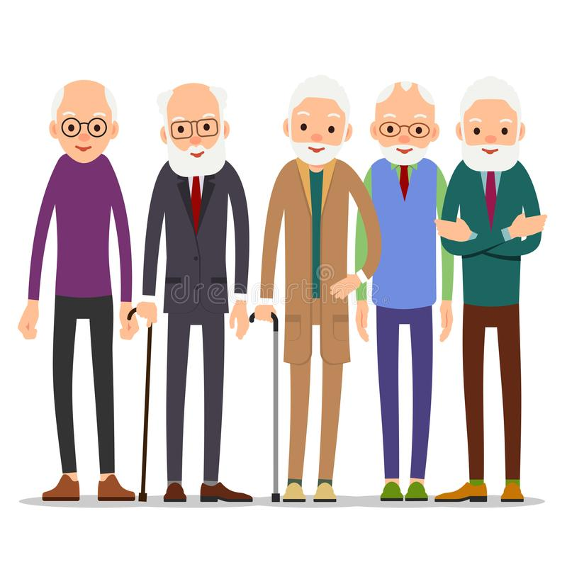 Group of old people. Older man character in various poses. Man i stock illustration