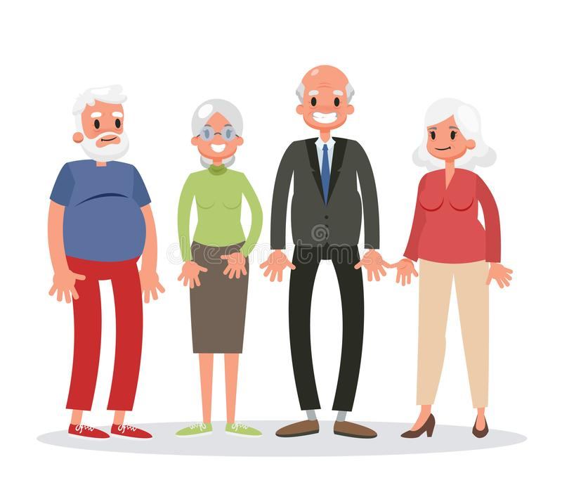 Group of old people standing. Senior man and woman stock illustration