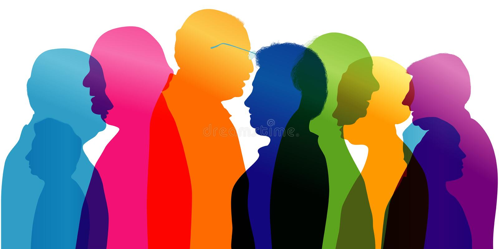 Group of old people talking. Dialogue and conversation between old people. Profile - silhouette - portrait - face. Multiple exposu stock illustration