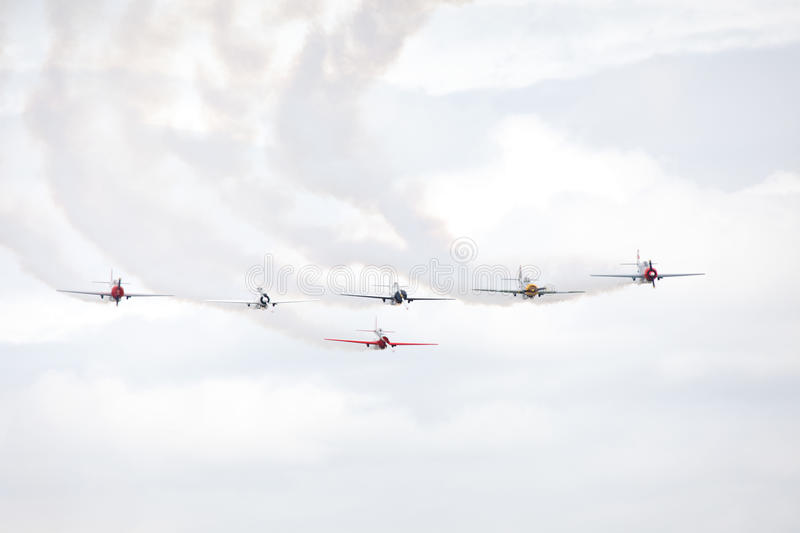 Group of old style aerobatic sport airplanes. stock photography
