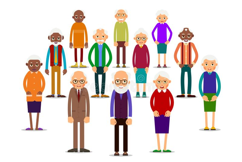 Group older people stock illustration