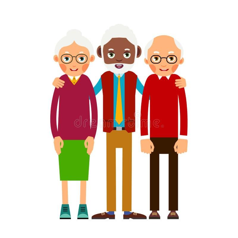 Group older people. Three aged people black and white. Elderly m stock illustration