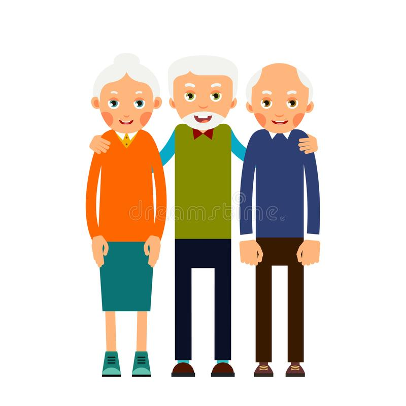 Group older people. Three aged people stand. Elderly men and women stand together and hug each other. Illustration isolated on royalty free illustration
