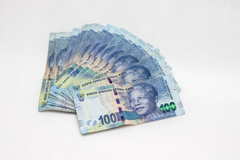 A group of one hundred rand notes. A bunch of south african one hundred rand notes royalty free stock image
