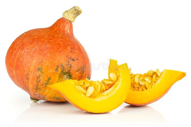 Fresh red kuri pumpkin hokkaido isolated on white stock image