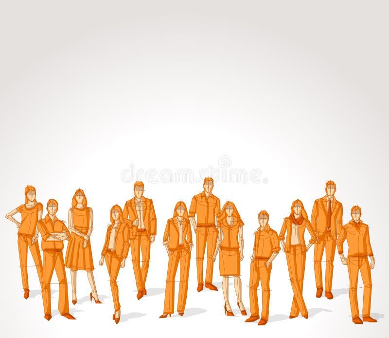 Group of orange business people vector illustration