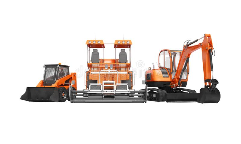 Group of orange heavy machinery bobcat excavator paver with bucket 3d render on white background no shadow stock illustration