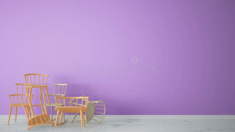 Group of orange modern scandinavian classic and rocky chairs stacked up in contemporary empty interior with marble floor, architec. T designer concept, violet stock illustration