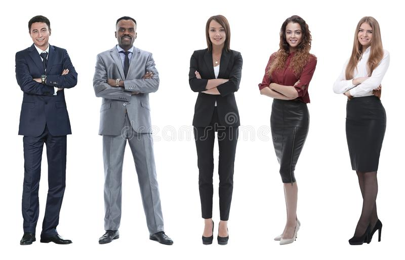 Collage of business people on white background. Group of ordinary people isolated on white royalty free stock images