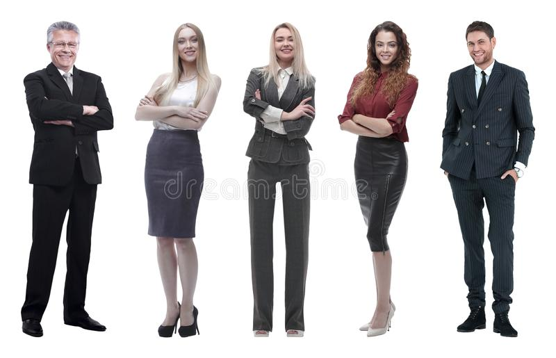 Collage of business people on white background stock photo