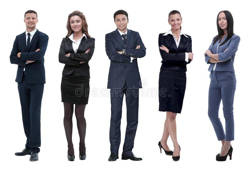 Collage of business people on white background stock photography