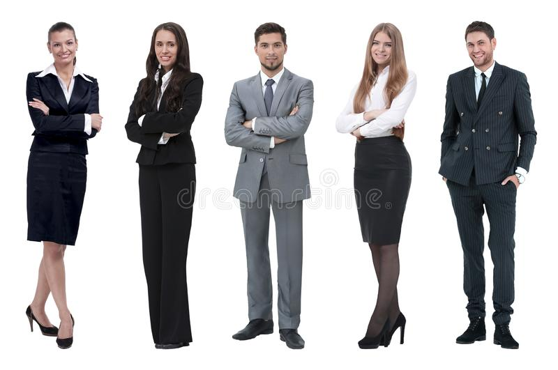 Collage of business people on white background stock photos