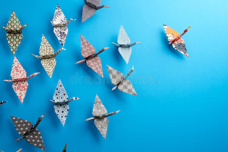 Group Of Origami Birds stock image