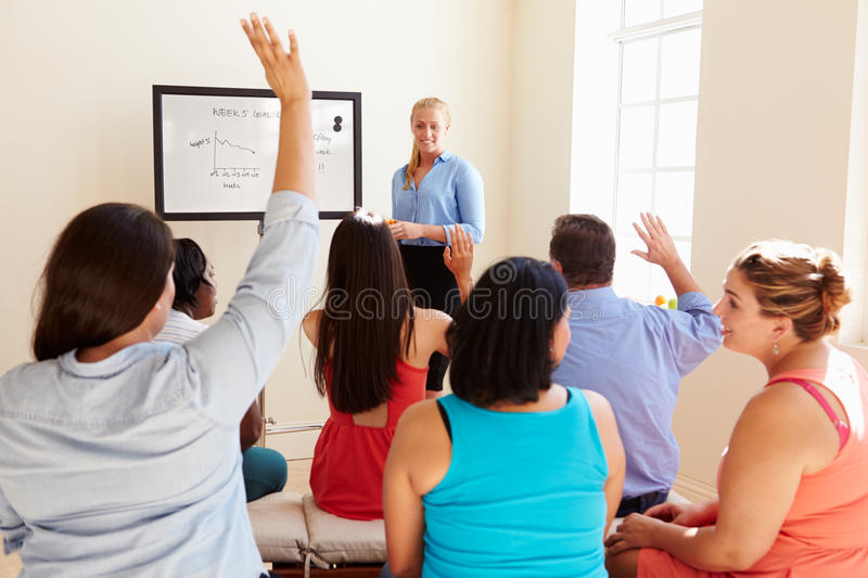 Group Of Overweight People Attending Diet Club royalty free stock photos