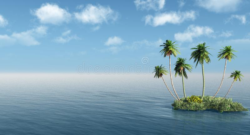 Group of palms on a small island vector illustration