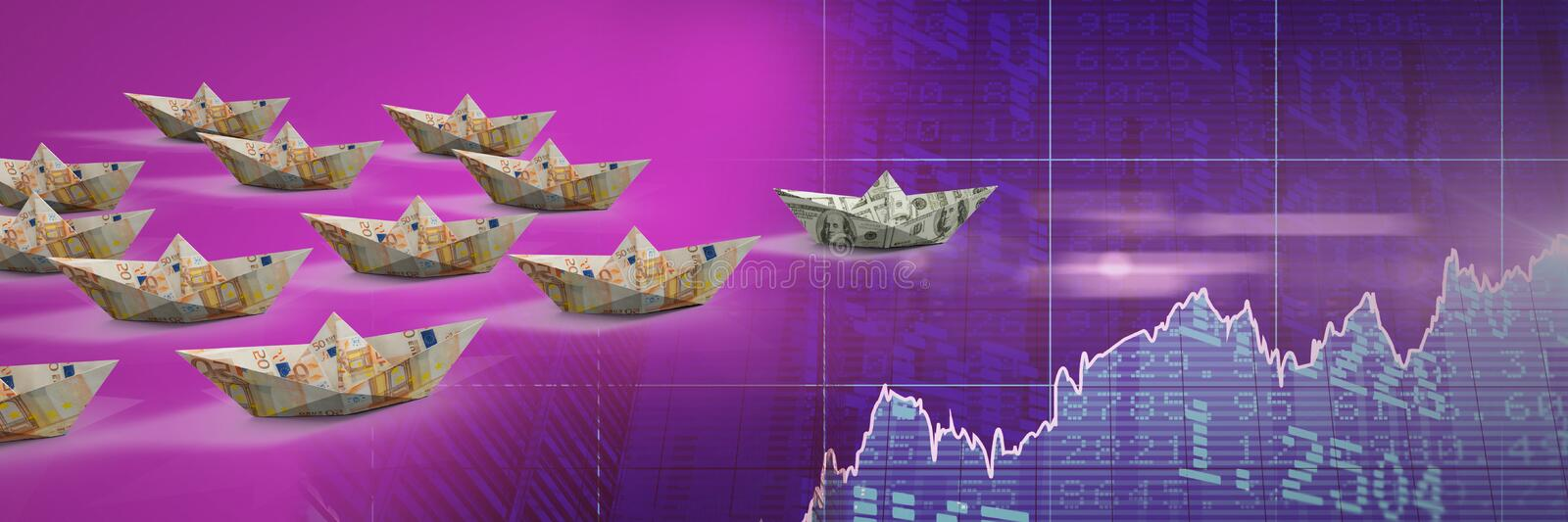 Group of Paper boats on economic statistic charts vector illustration