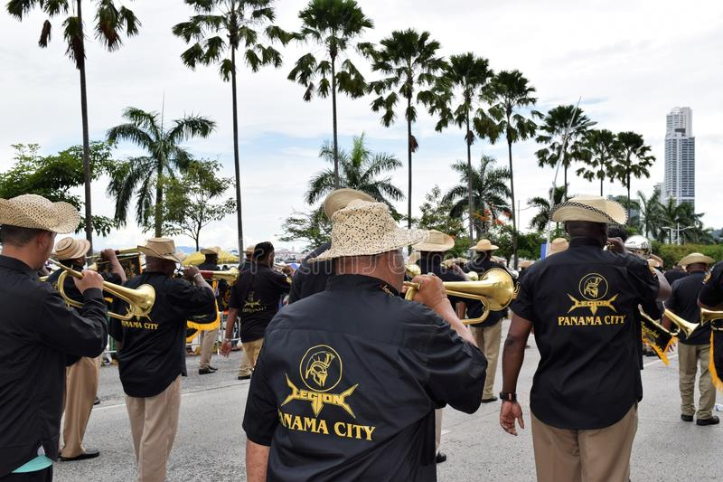 Group parading for patriotic days in panama stock photography