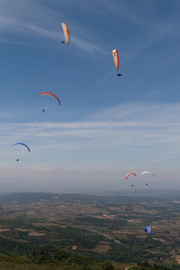 Download Group of paragliders stock image. Image of hover, activity - 23716597