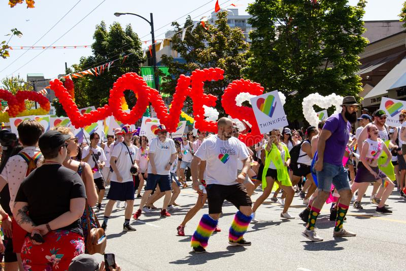 Vancouver, British Columbia, Canada - August 4, 2019: People take part in the Vancouver Gay Pride Parade stock images