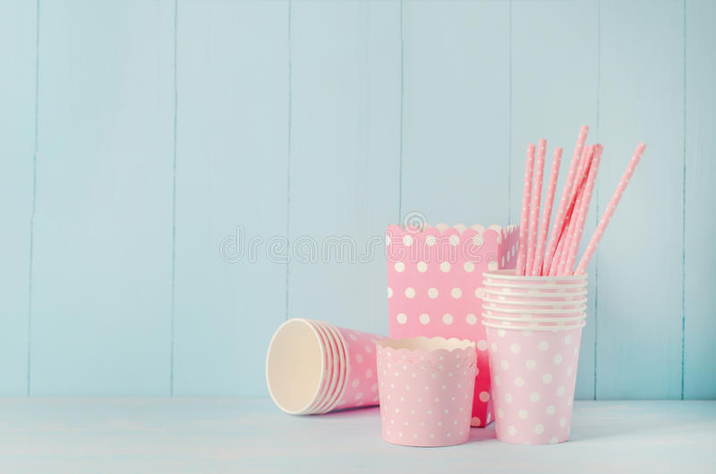 Group of party supplies on blue wooden table stock photos