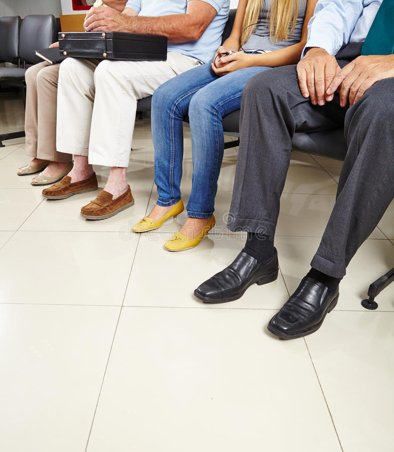 Group of patients in waiting room royalty free stock photos