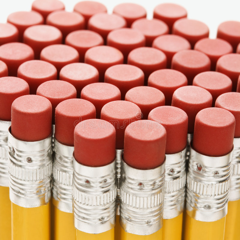 Group of pencil erasers. royalty free stock images